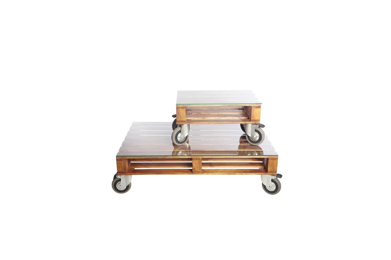 Esprit récup' pour ces tables basses.Table Pallet, House Doctor, 1 190,70 €