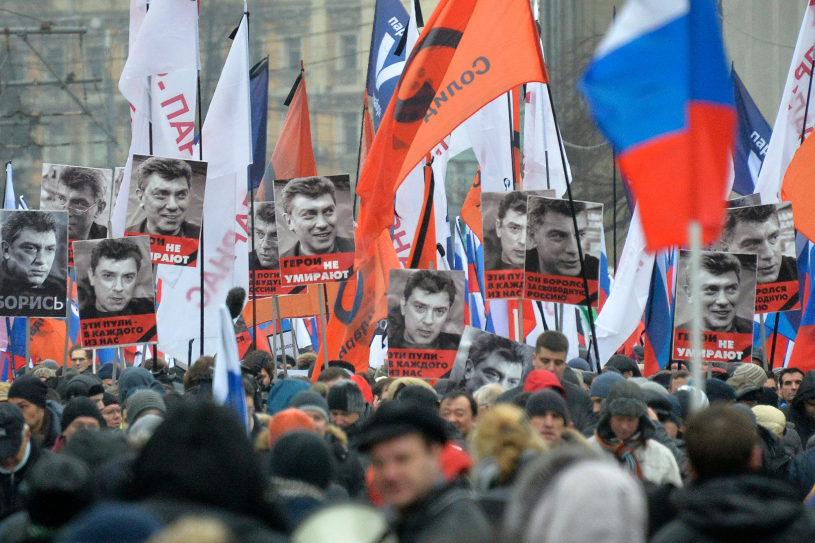 Il y avait plus de 16.000 manifestants selon la police, et plus de 70.000 selon les organisateurs de la marche en mémoire de Boris Nemtsov, le 1er mars, à Moscou.