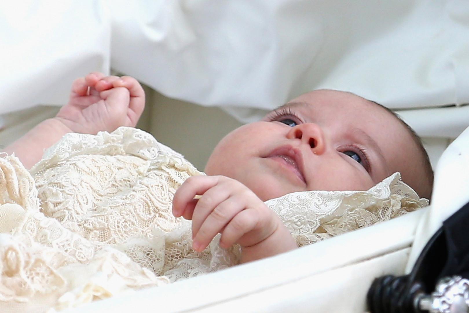 La princesse Charlotte lors de son baptême le 5 juillet 2015 à Sandringham.