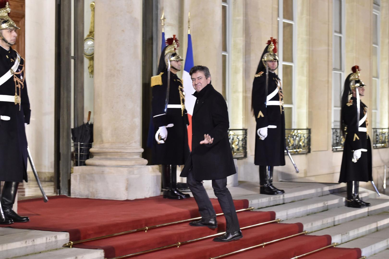 Jean-Luc Mélenchon à l'Élysee, le 1er janvier 2016