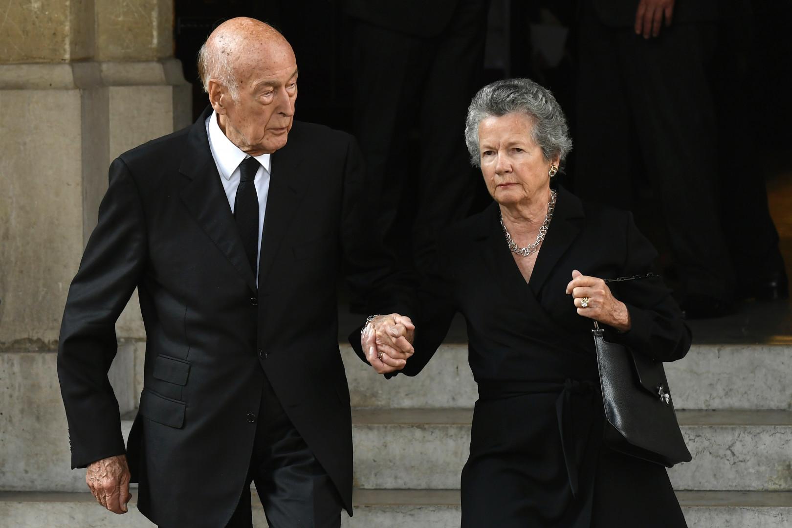 Le couple Giscard d'Estaing aux obsèques de Liliane Bettencourt