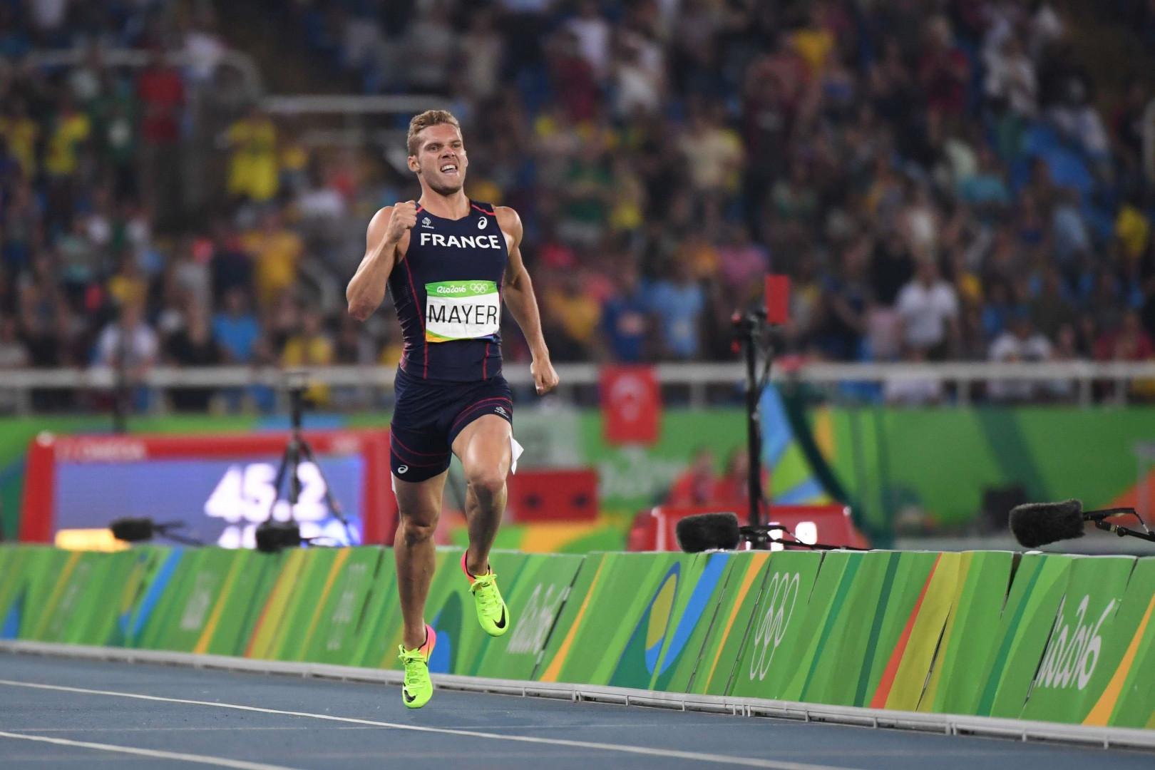 Kévin Mayer en plein effort lors de l'épreuve de 400m du décathlon.
