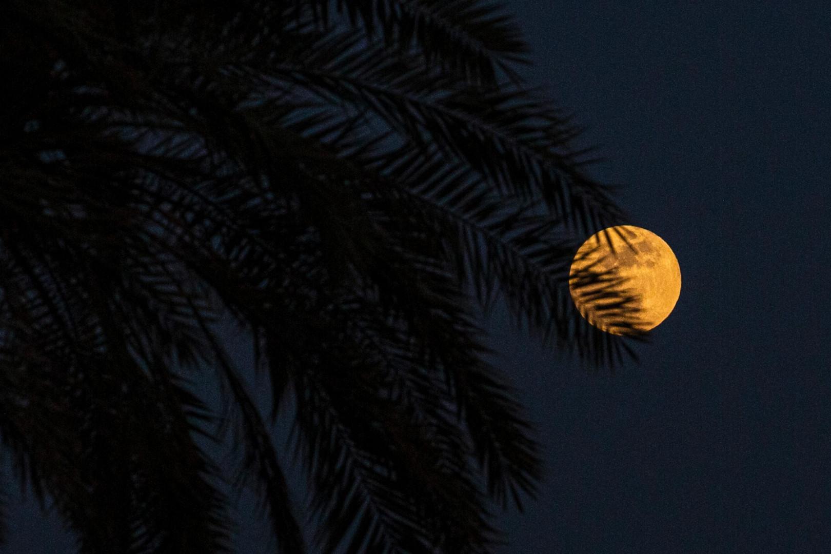 La pleine lune dans le ciel du port irakien de Basra pendant l'éclipse pénombrale.