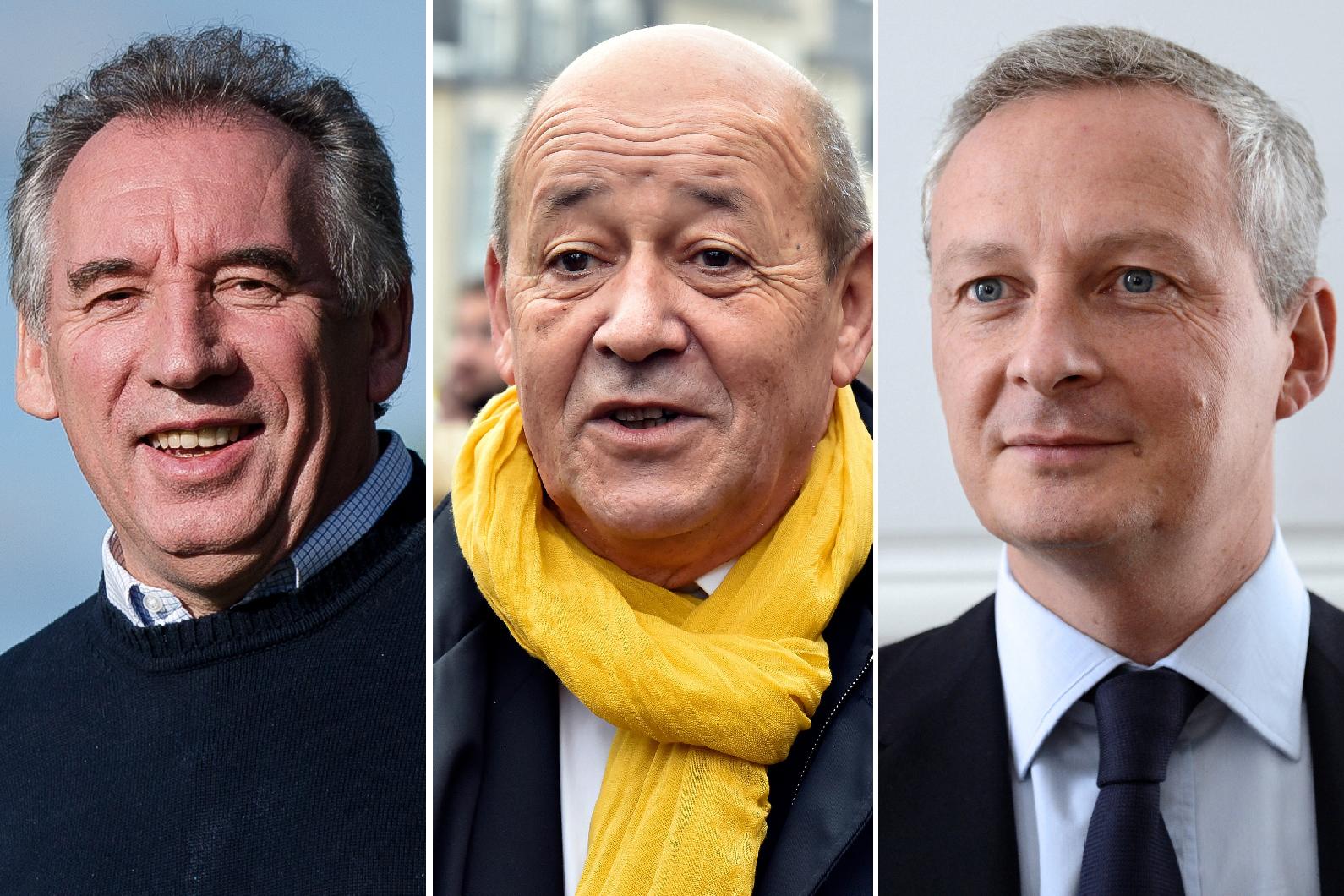 François Bayrou, Jean-Yves Le-Drian et Bruno Le-Maire
