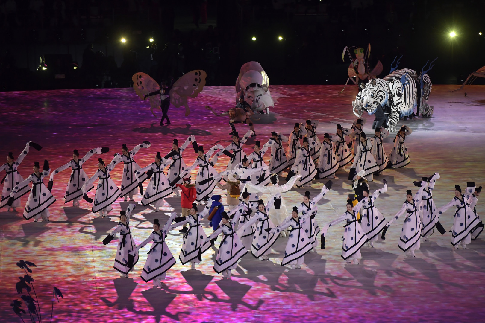 """L'un des premiers """"tableaux"""" de la cérémonie d'ouverture des Jeux olympiques de Pyeongchang."""