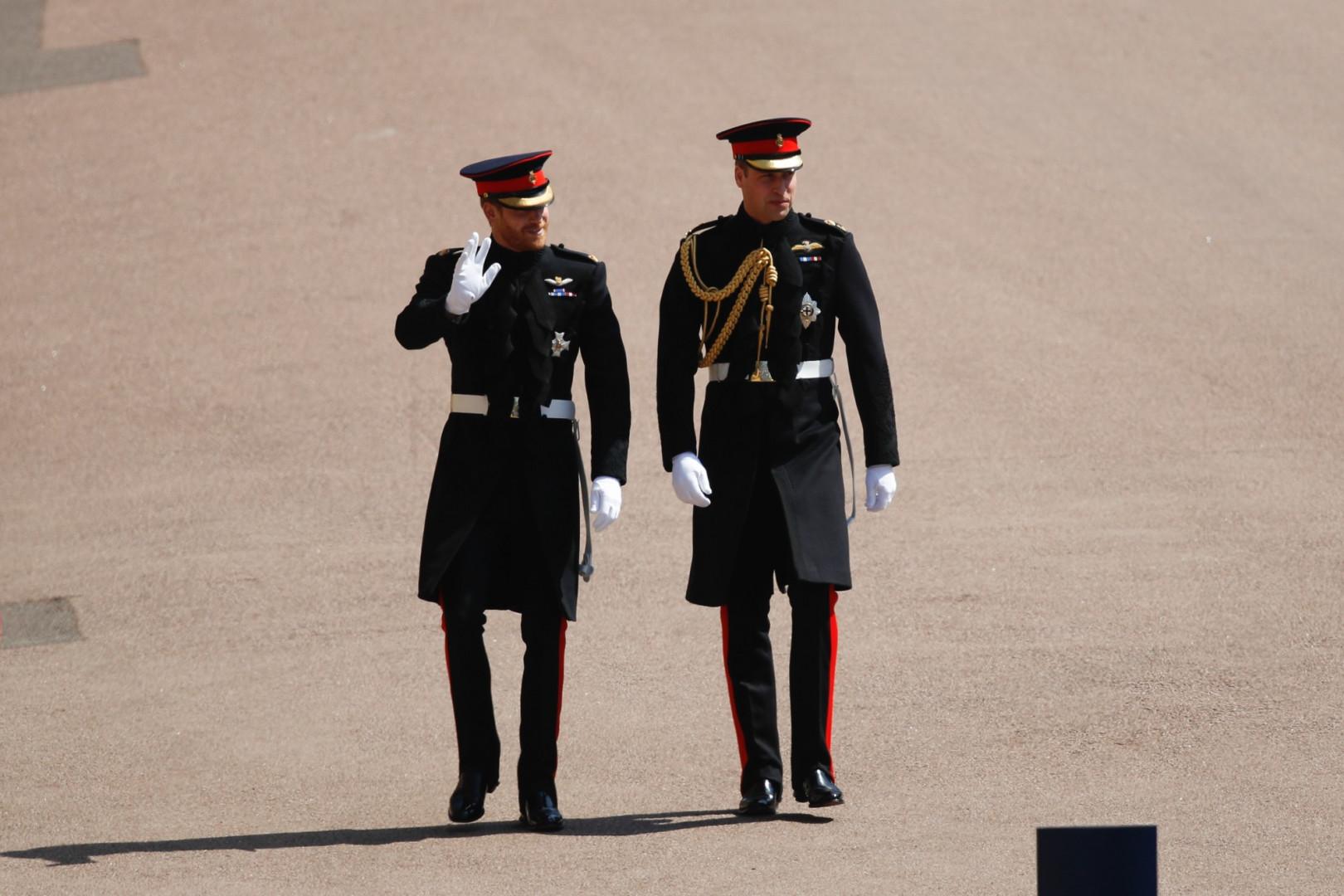 Les princes Harry et William dans le parc de la chapelle Saint-George