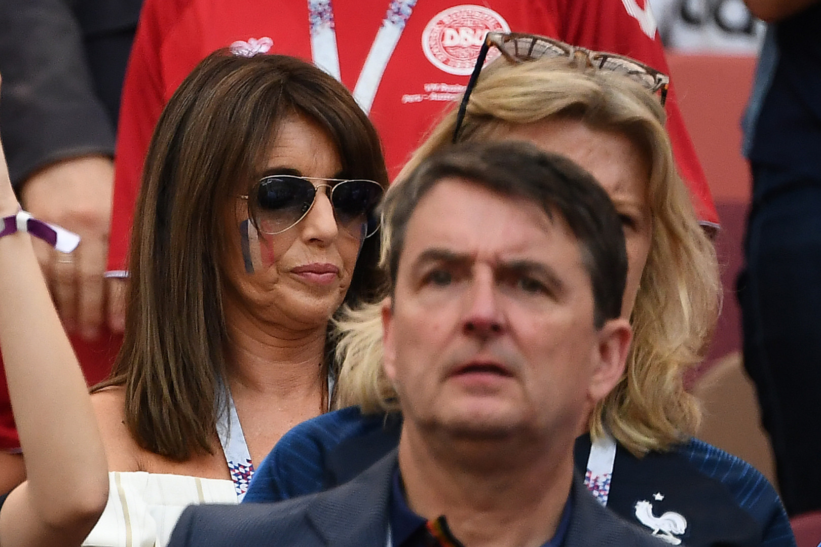 Claude Deschamps, femme de Didier Deschamps, dans les gradins pour France-Danemark ce 26 juin 2018