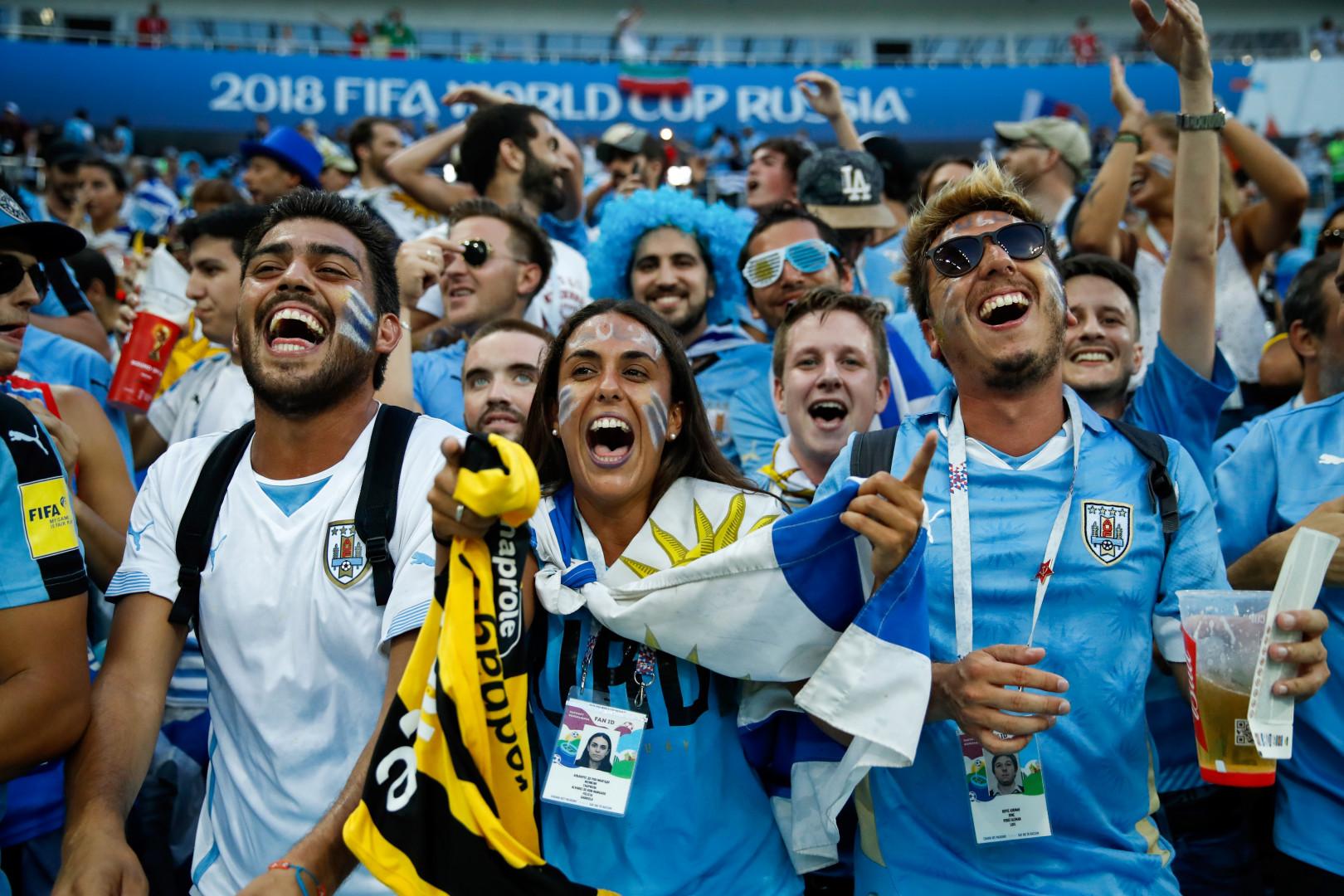 De leur côté, ces supporters uruguayens, présents dans le stade de Sotchi pendant le match contre le Portugal, ont laissé éclater leur joie.