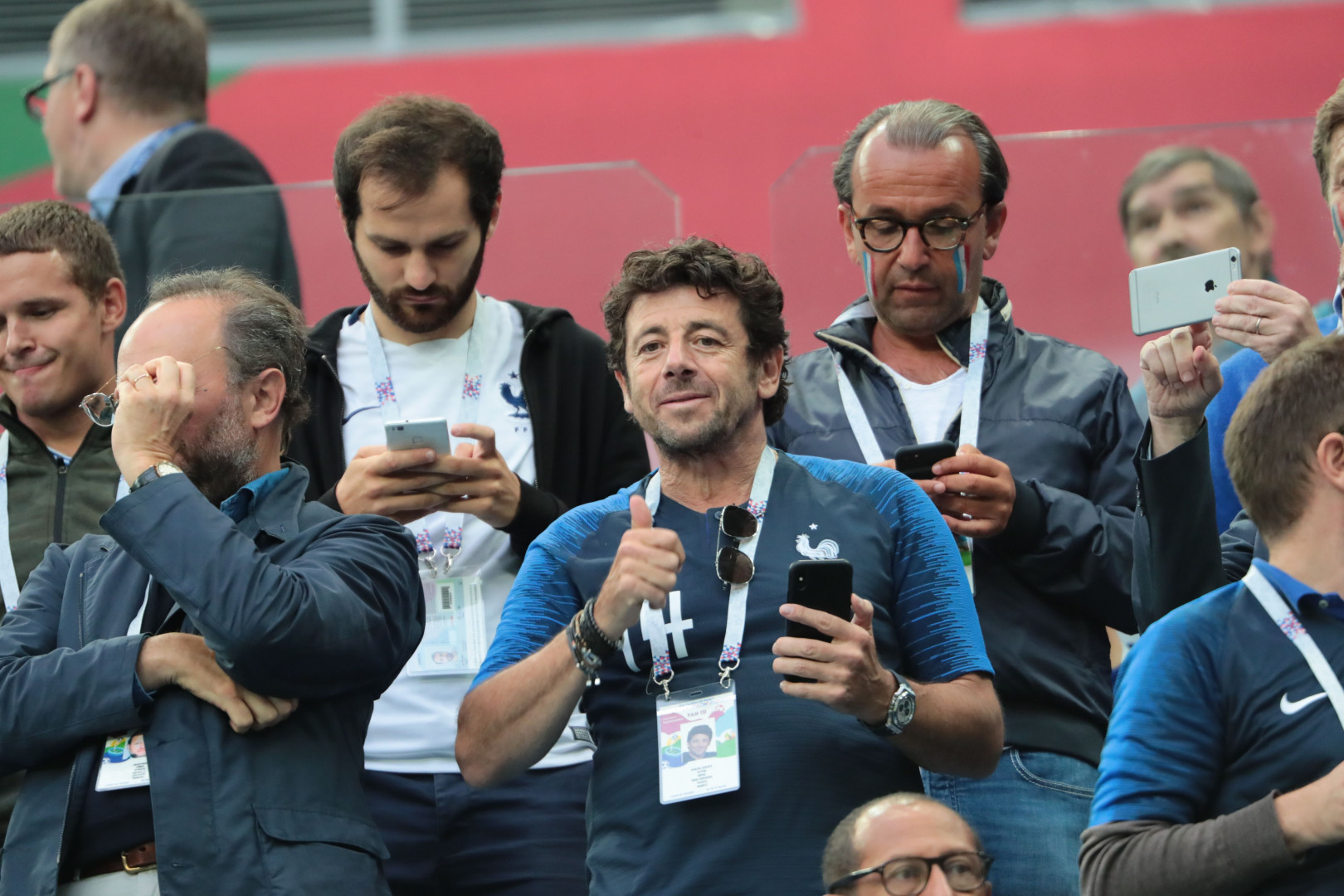 Patrick Bruel aux couleurs des Bleus mardi 10 juillet 2018 à Saint-Petersbourg pour la victoire des Bleus face à la Belgique