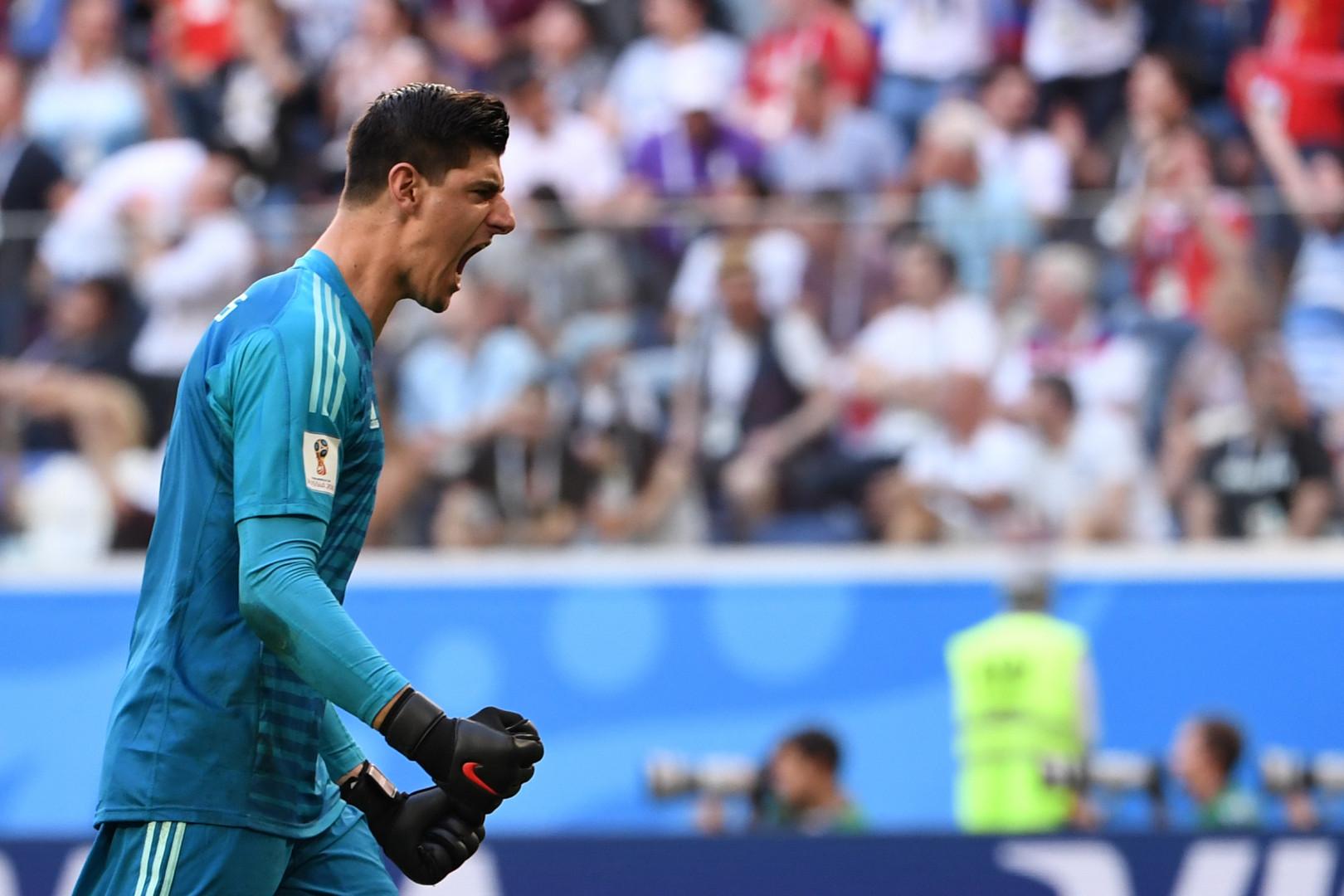 Le gardien belge Thibaut Courtois le 14 juillet 2018 lors de la petite finale de Coupe du Monde face à l'Angleterre