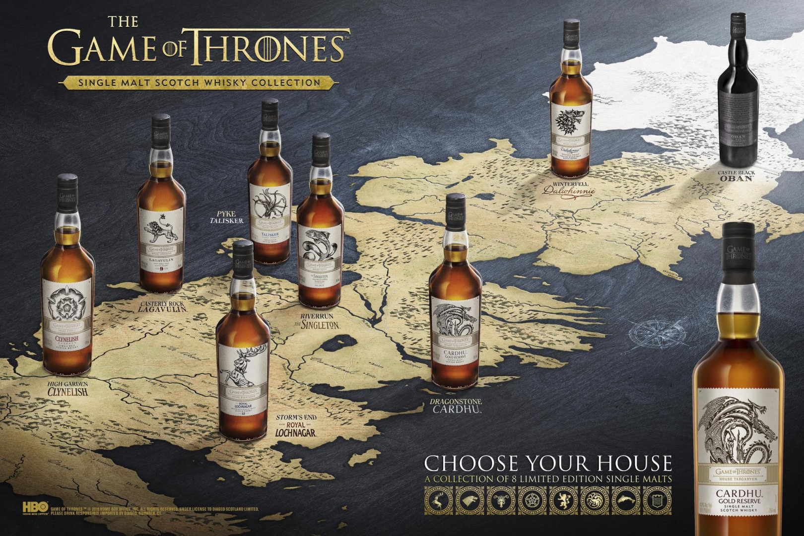 Une gamme de whisky à l'effigie des maisons de Westeros ( de 30 à 150 dollars)