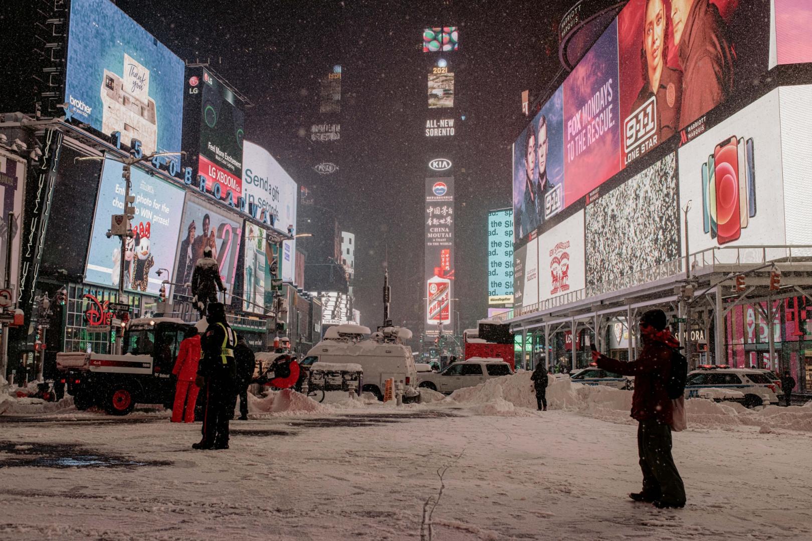 La ville de New York frappée par un puissant blizzard, lundi 1er février 2020.