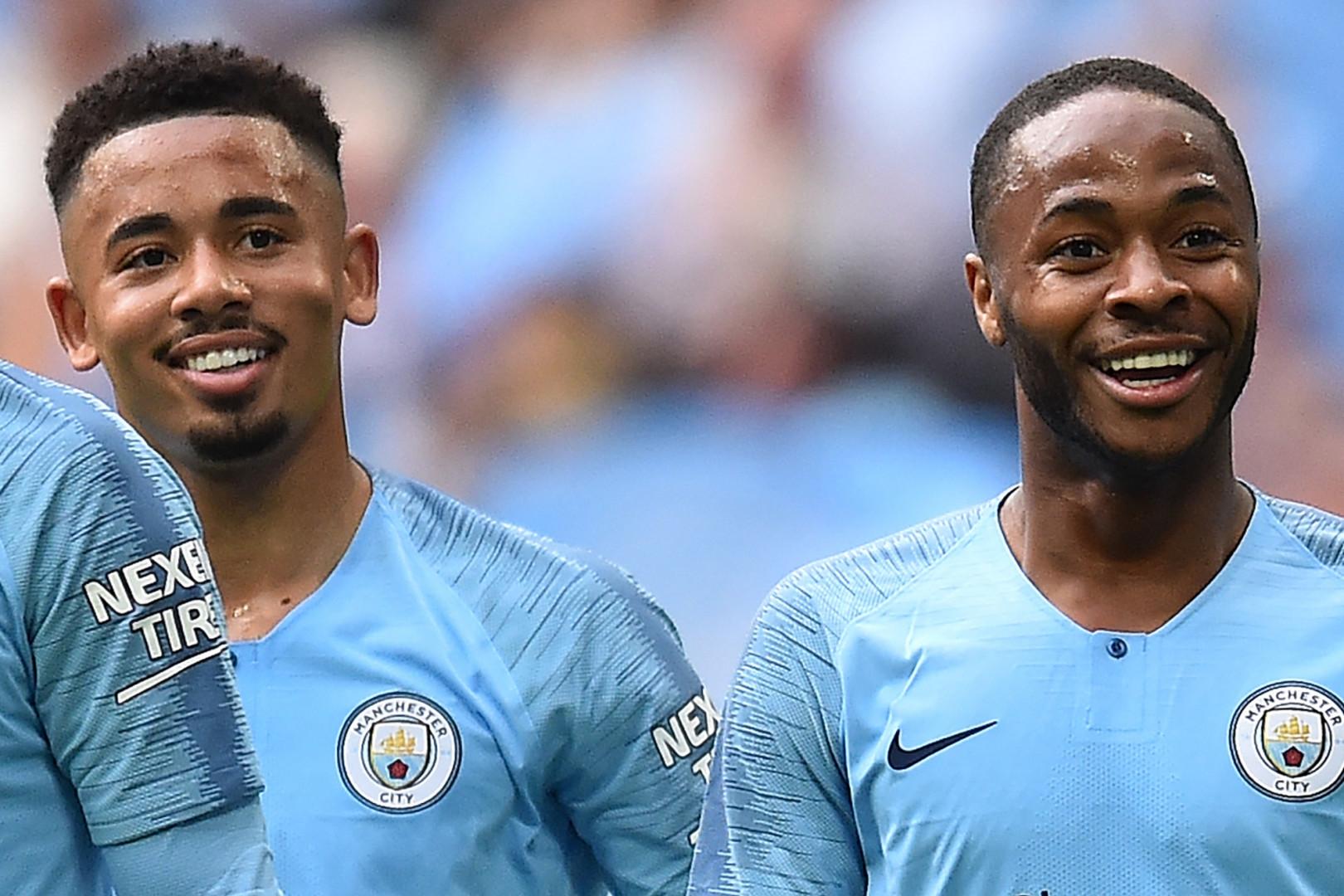 Gabriel Jesus et Raheem Sterling avec Manchester City à Londres le 18 mai 2019