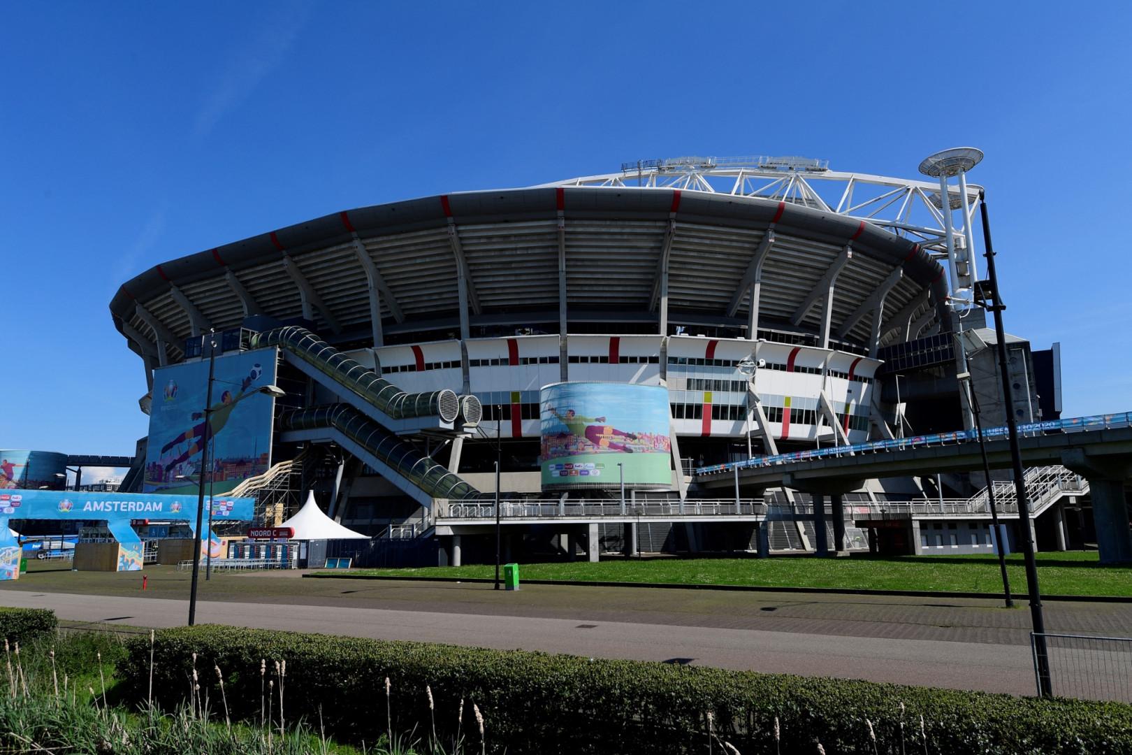 La Johan Curyff Arena de Amsterdam vue de l'extérieur en mai 2021