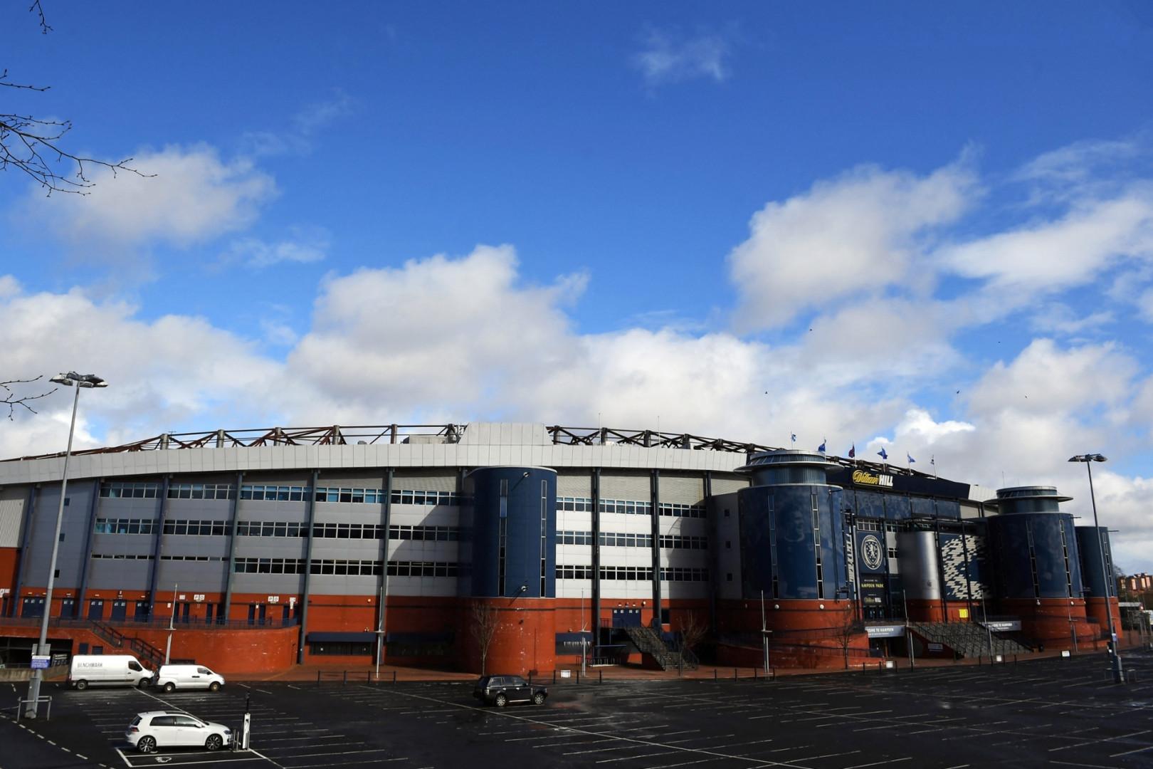 Vue extérieure de Hampden Park à Glasgow en mars 2021