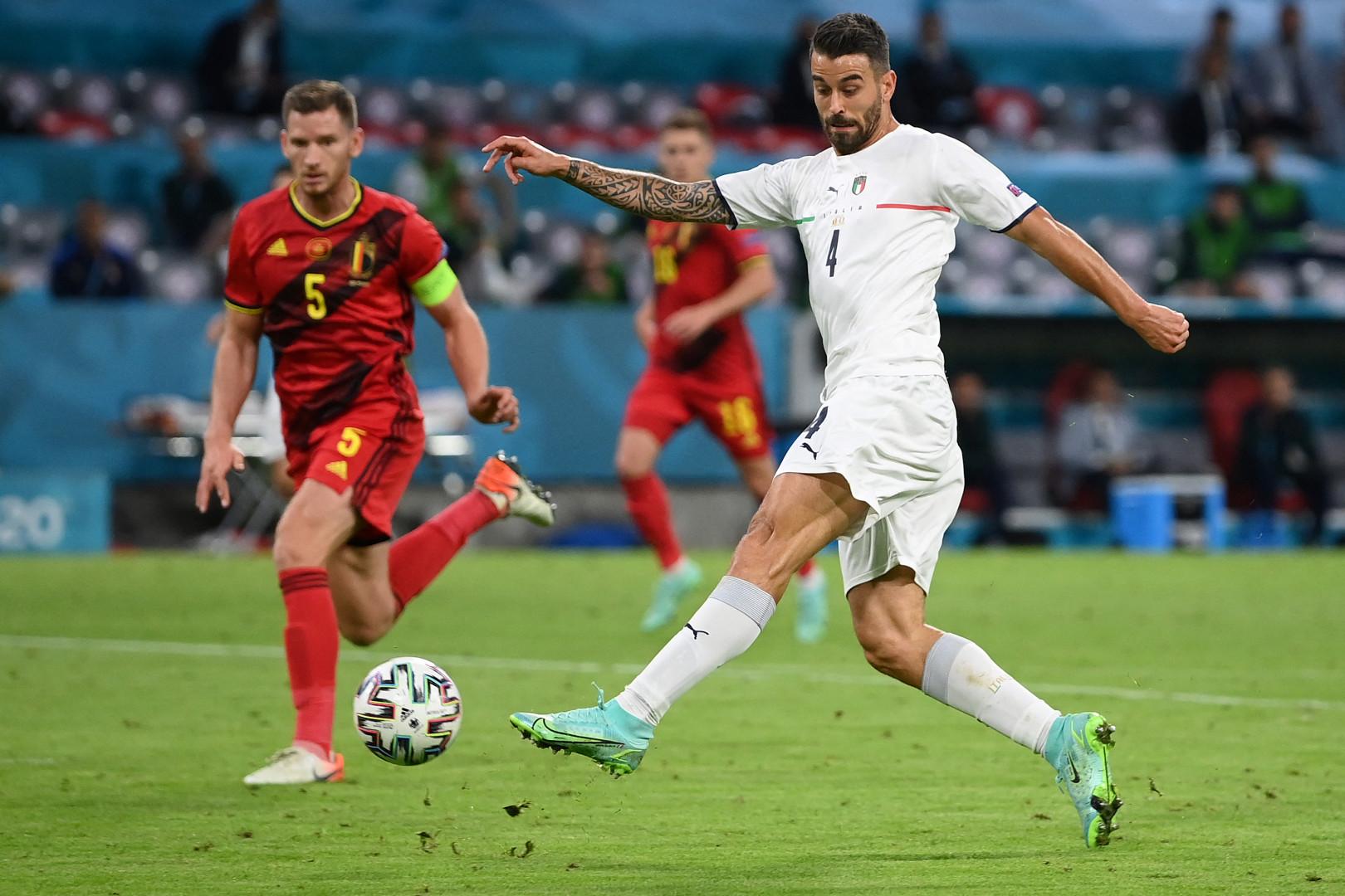 Leonardo Spinazzola contre la Belgique à l'Euro à Munich le 2 juillet 2021.