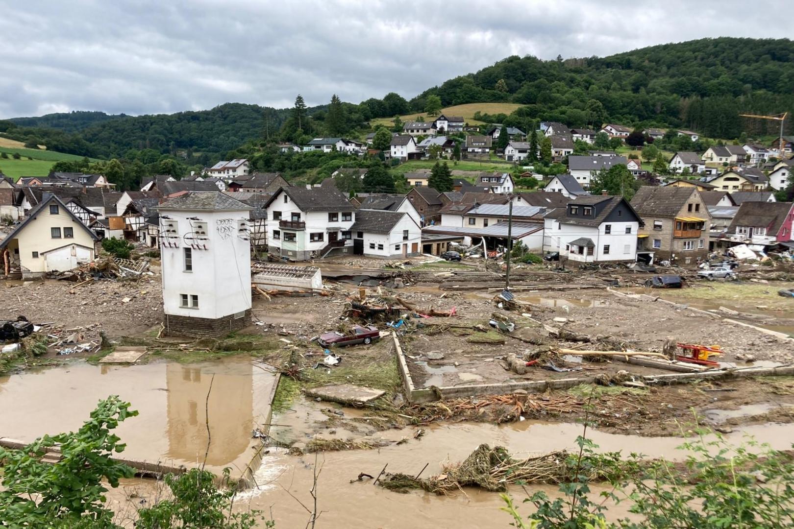 Vue sur la partie ravagée de la ville de Schuld en Allemagne, au bord de l'Ahr, le jeudi 15 juillet 2021.
