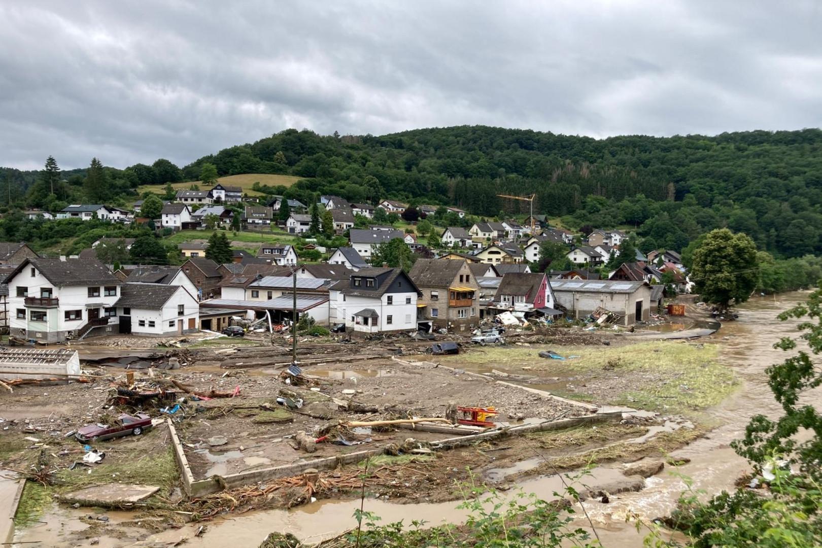 15.000 membres des secours sont à pied d'oeuvre dans les régions les plus touchées d'Allemagne. Image de la ville de Schuld en Allemagne, au bord de l'Ahr, le jeudi 15 juillet 2021.