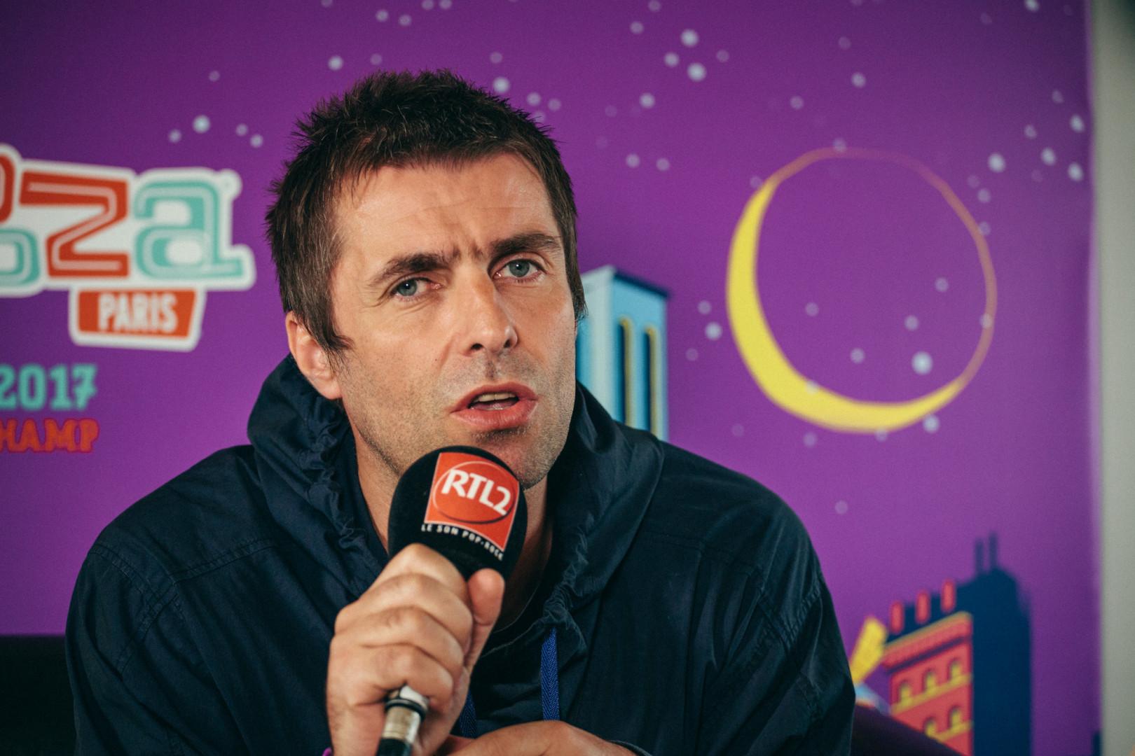 Liam Gallagher en interview dans le studio RTL2 lors de Lollapalooza Paris