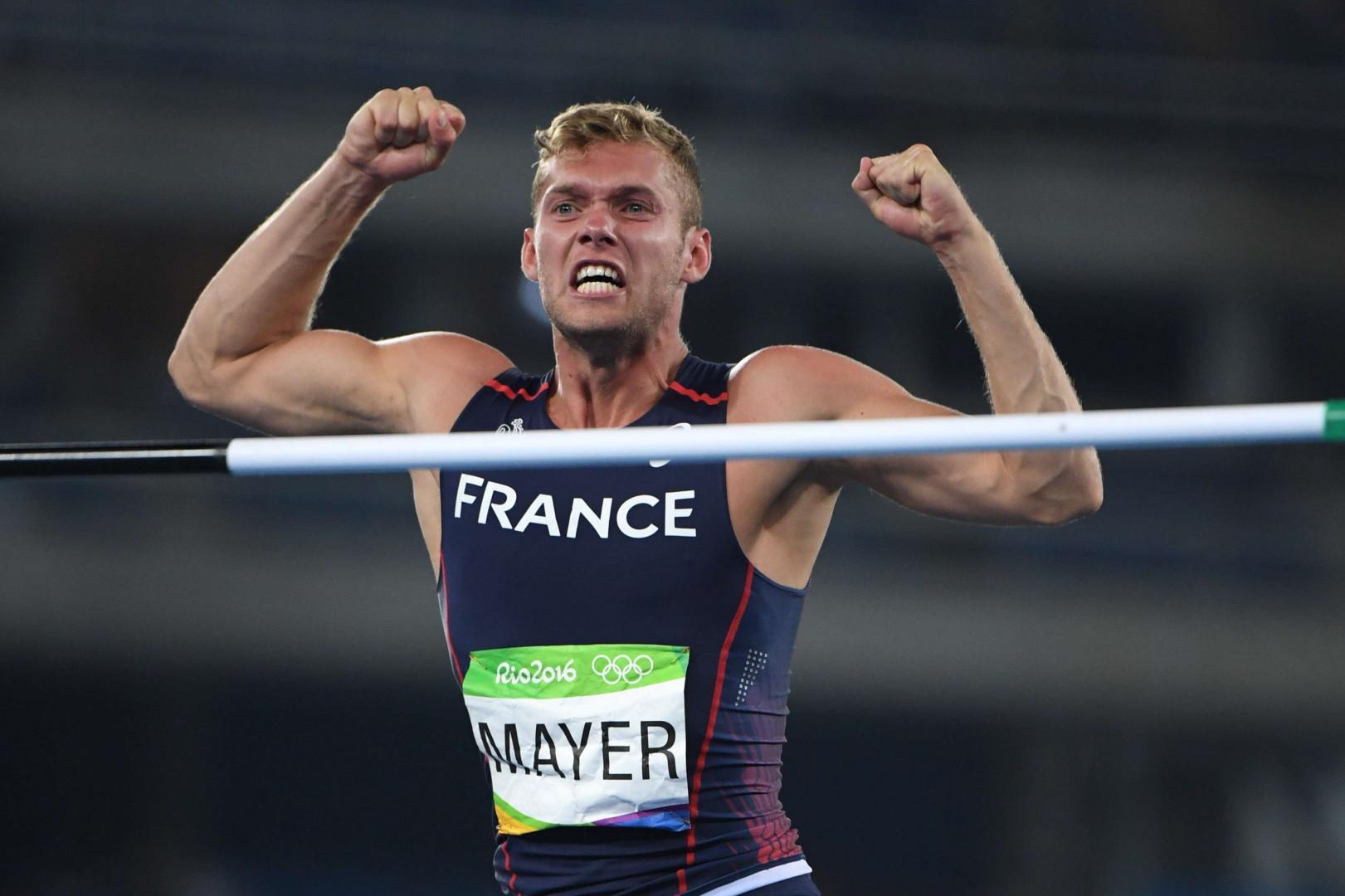 Kévin Mayer le 17 août lors de l'épreuve de saut en hauteur du décathlon.