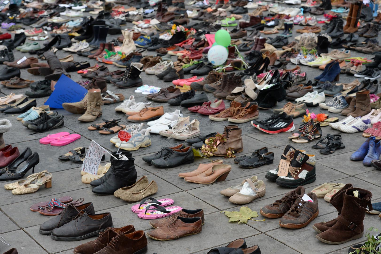 Les chaussures ont été récoltées et déposées par l'ONG internationale Avaaz, à la veille du début de la COP21