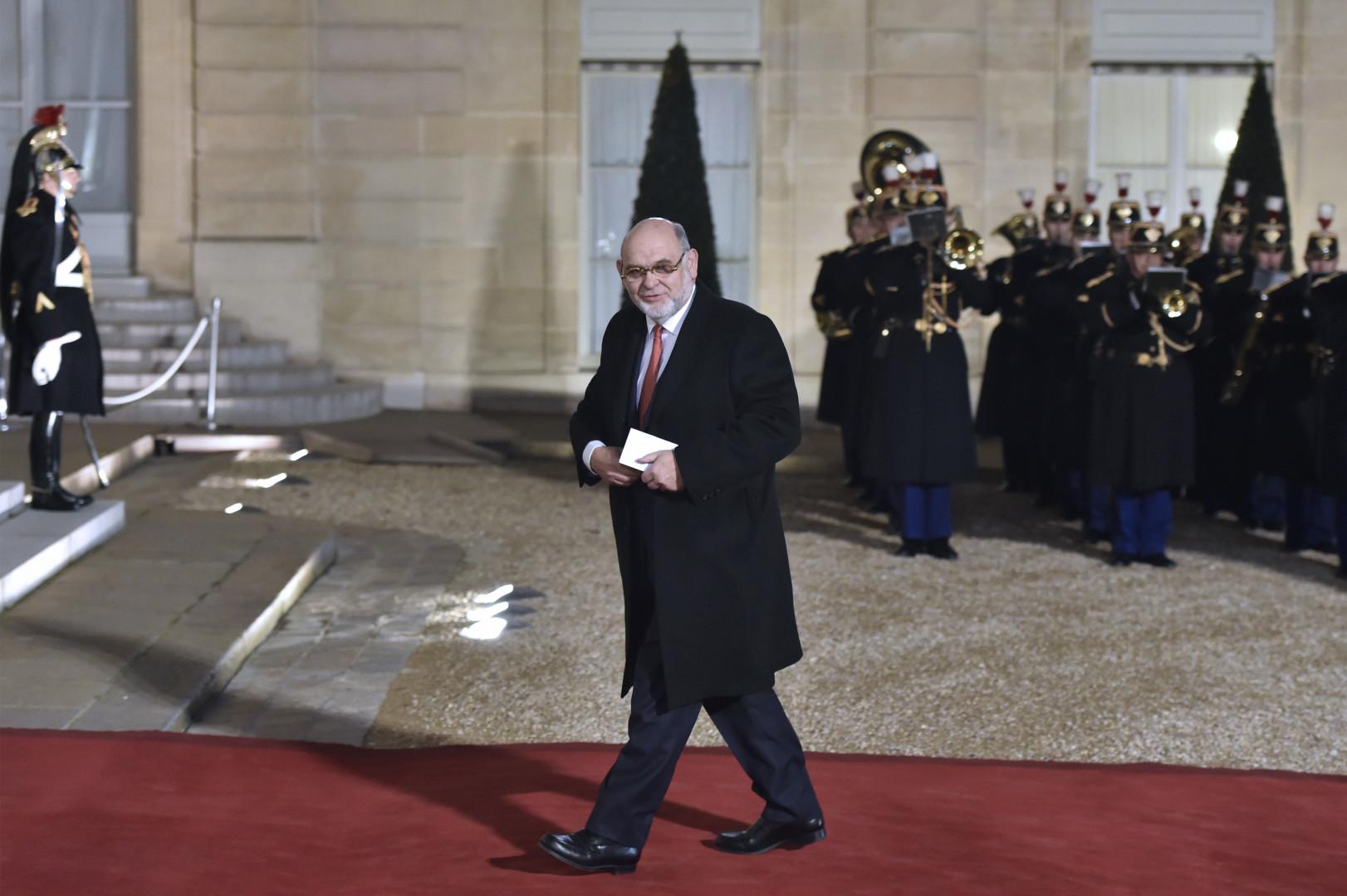 Robert Hue, sénateur du Val-d'Oise, à l'Élysée le 1er février 2016