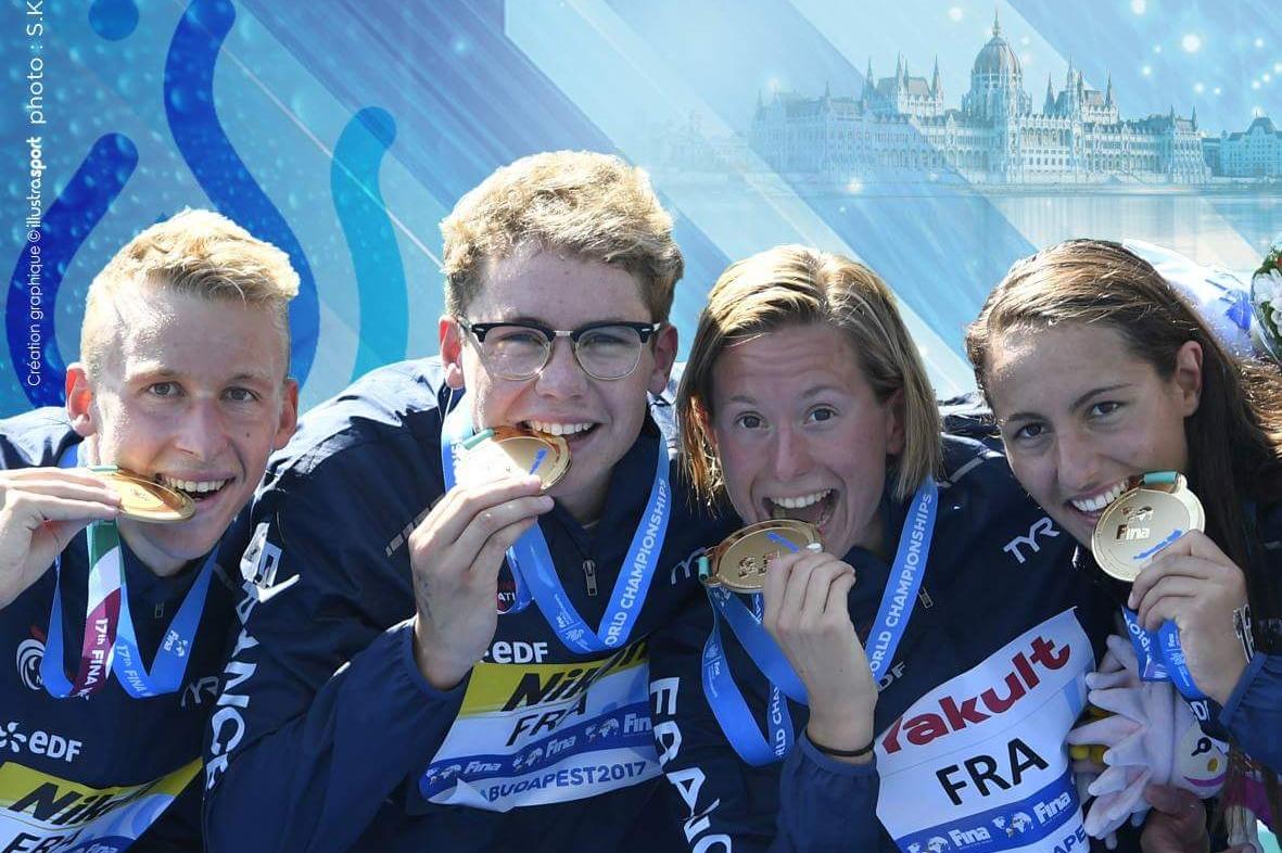 Marc-Antoine Olivier, Logan Fontaine, Aurélie Muller et Océane Cassignol sacrés sur le relais 5 km mixte aux Mondiaux de Budapest 2017