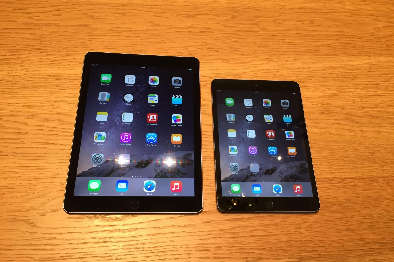 Un iPad Air 2 comparé à un iPad Mini 3