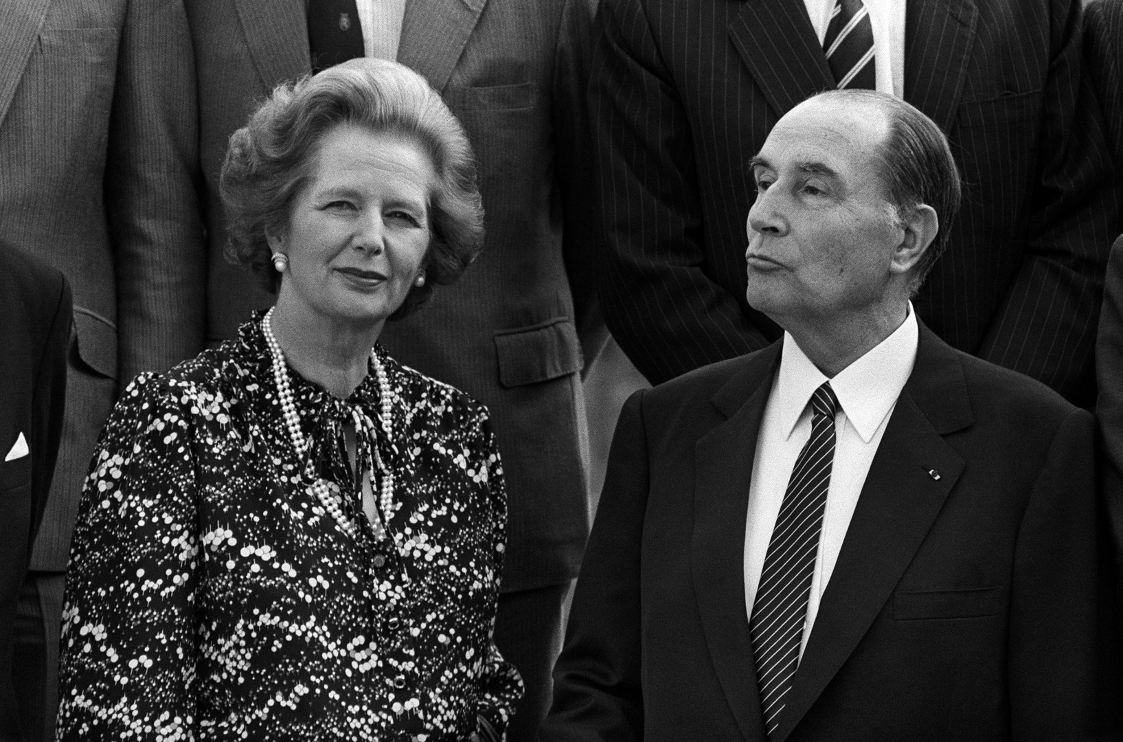 26 juin 1984 : Margaret Thatcher avec le président français François Mitterrand, lors du Conseil de l'Europe à Fontainebleau