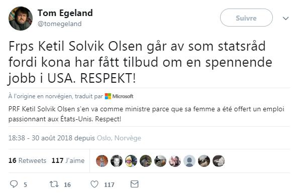 """Cet internaute lance un """"Respect !"""" au ministre Ketil Solvik-Olsen, qui démissionne au profit de la carrière de sa femme"""