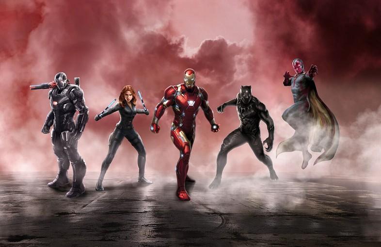 Iron Man, Black Widow, Black Panther, The Vision et War Machine pour la loi de recencesement.
