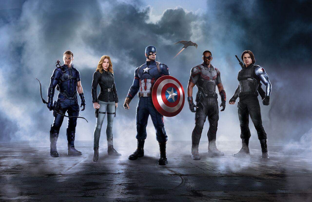 Captain America, le Faucon, le Soldat de l'Hiver, l'Agent 13 et  Hawkeye.