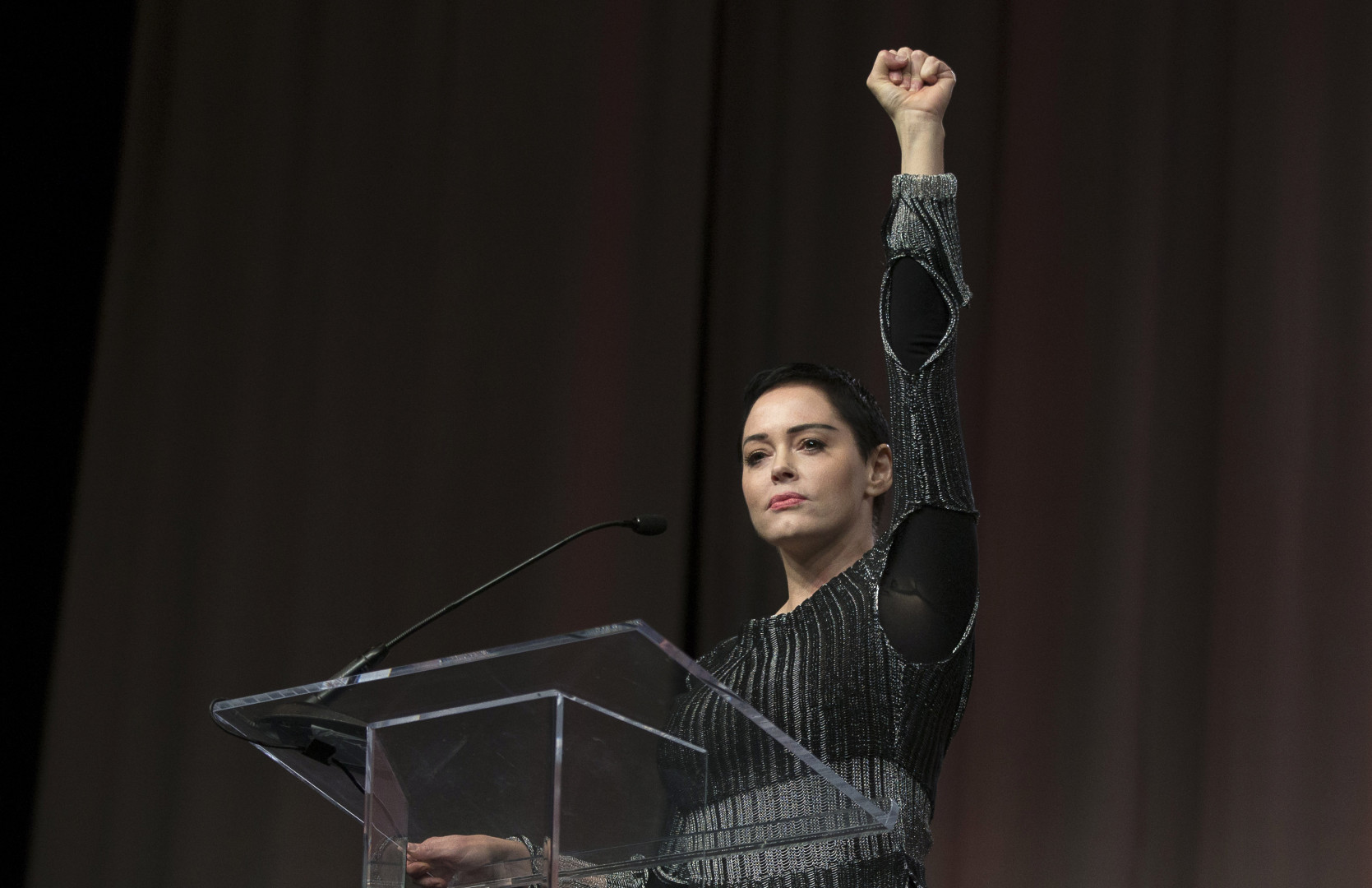 Rose McGowan à la Convention des femmes à Detroit, le 27 octobre 2017