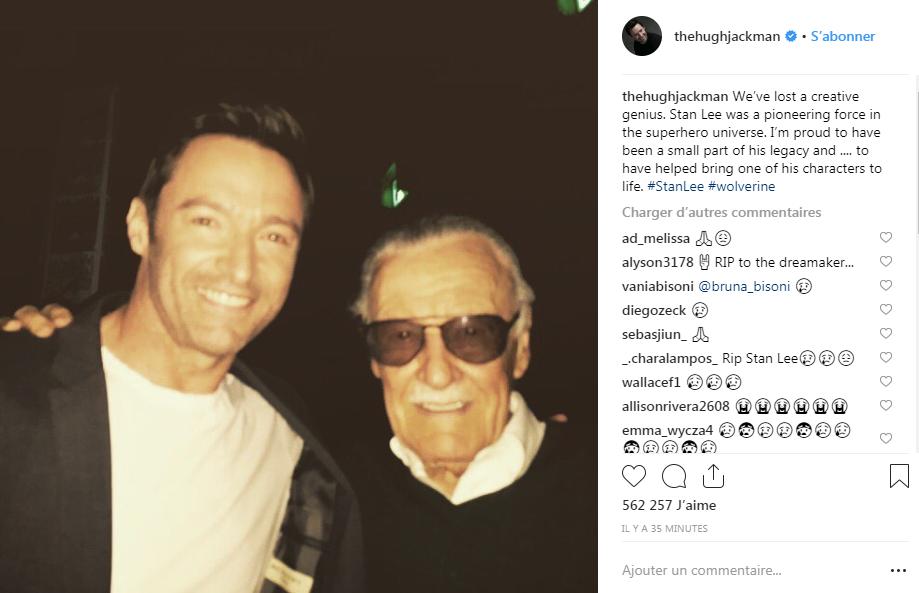 L'hommage de Hugh Jackman à Stan Lee sur Instagram