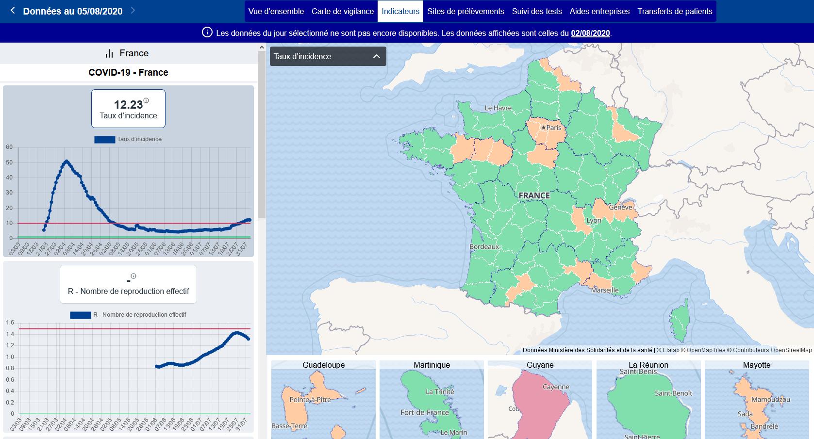Le taux d'incidence au 2 août 2020 (capture d'écran réalisée le 6 août)
