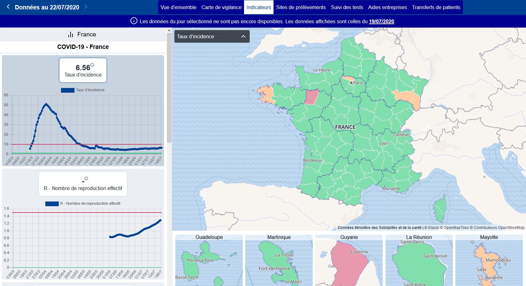 Le taux d'incidence au 19 juillet 2020 (capture d'écran réalisée le 23 juillet)