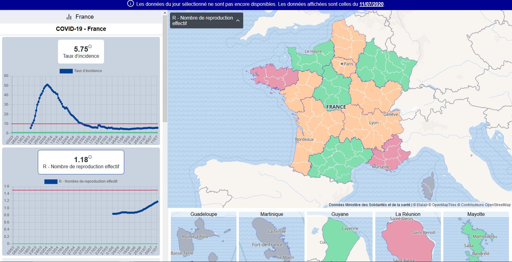 Le R0 dans les différents départements de France, le 11 juillet 2020 (capture d'écran réalisée le 17 juillet 2020)