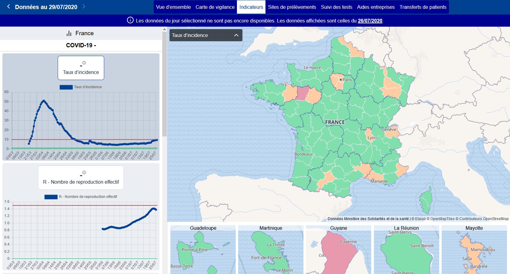 Le taux d'incidence au 26 juillet 2020 (capture d'écran réalisée le 30 juillet)