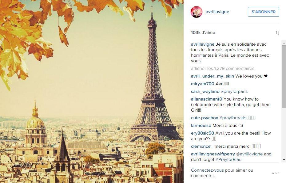 Avril Lavigne a posté une belle image de la capitale