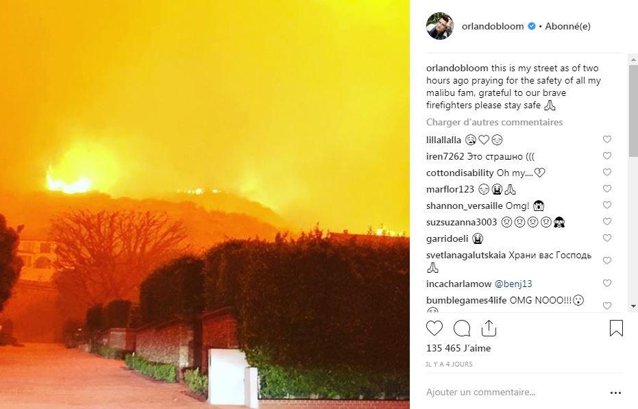 Orlando Bloom poste une photo de sa rue encerclée par les flammes sur Instagram