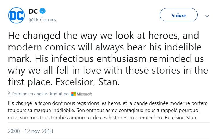 L'hommage de DC Comics à Stan Lee sur Twitter