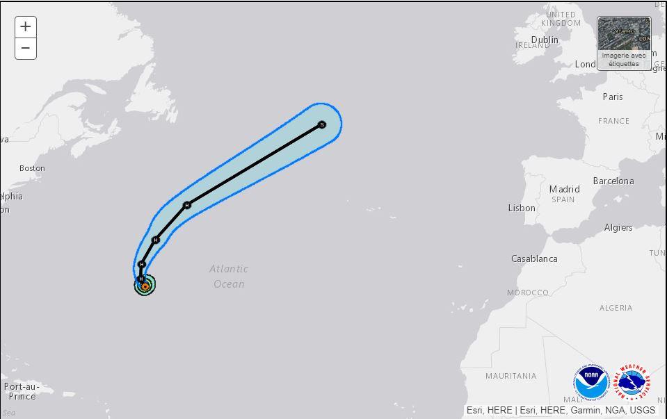 Trajectoire provisoire de Lee dans les prochains jours selon le Centre national des ouragans.