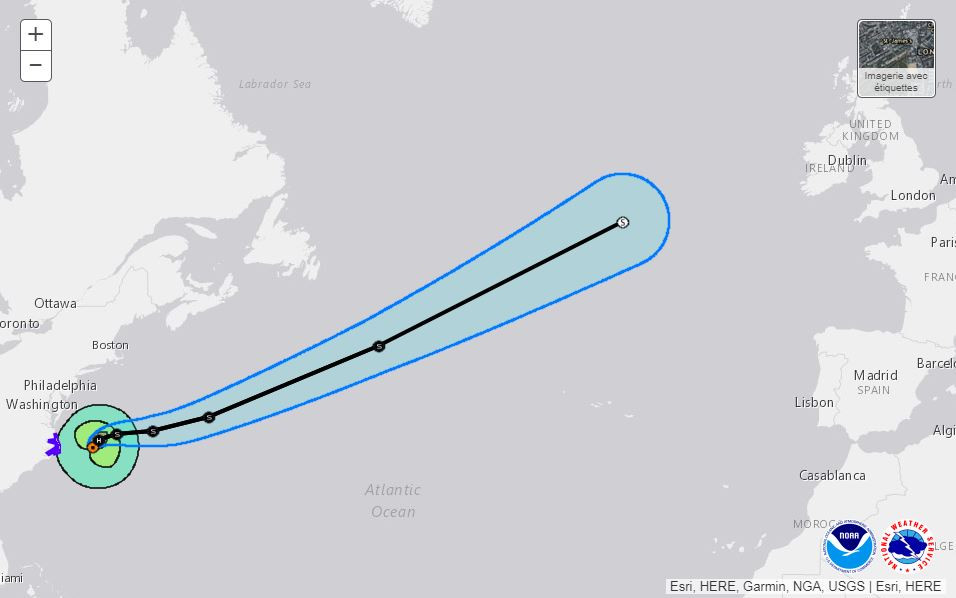 Trajectoire provisoire de Maria dans les prochains jours selon le Centre national des ouragans.