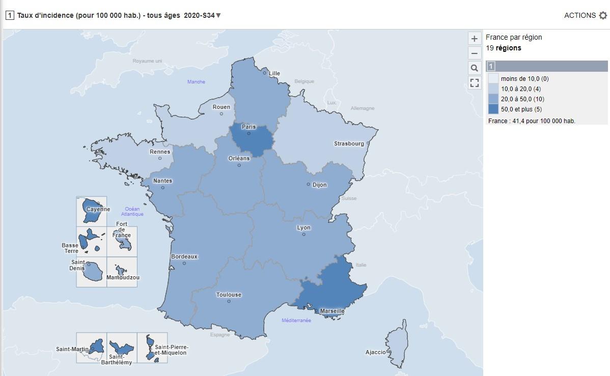 Carte du taux d'incidence au 29 août (pris le 2 septembre)