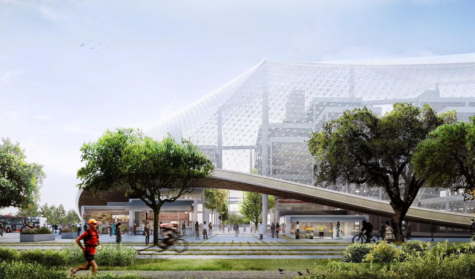 De gigantesques auvents translucides domineront une galerie commerciale