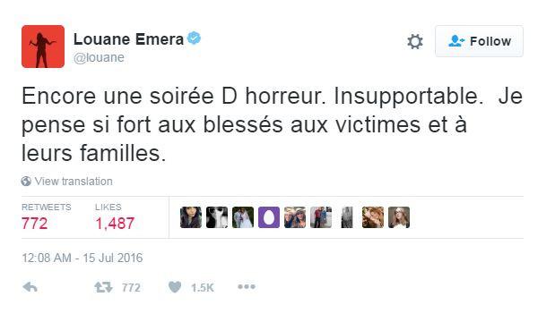 Louane a rapidement posté un message de soutien sur Twitter