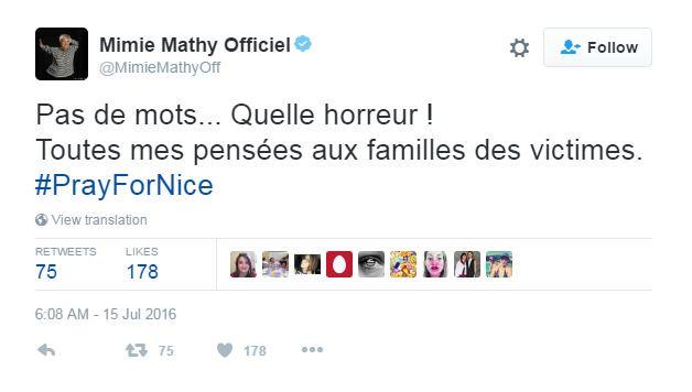 La comédienne Mimie Mithy a une pensée pour les familles des victimes