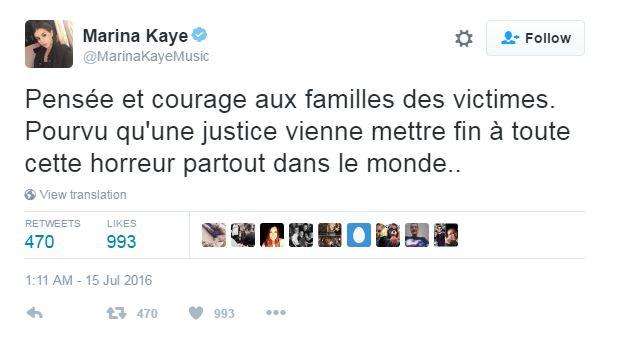 Marina Kaye a partagé son émotion sur Twitter