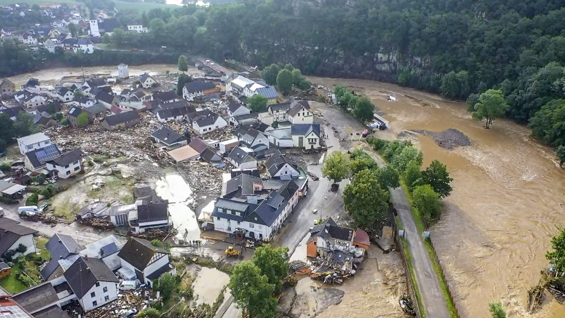 Vue aérienne du village de Schuld dans l'ouest de l'Allemagne après de violentes intempéries (photo prise le 15 juillet)