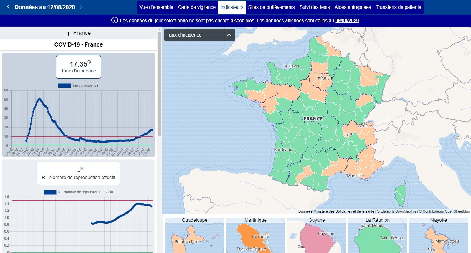 Carte du taux d'incidence au 9 août (capturée le 13 août)